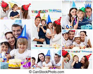 familier, collage, sammen, fejr, fødselsdag, hjem