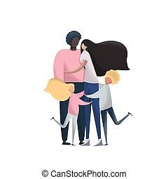 families., adopción, multinacional, vector.