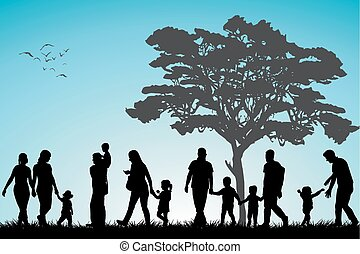 Families in the park