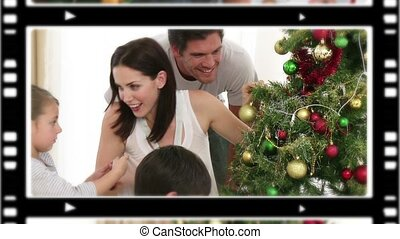 families, momenten, montage, enig, samen, vierende kerstmis