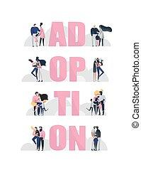families., multinational, illustration., adoption