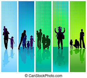 families, op, blauw en groen, backgrou