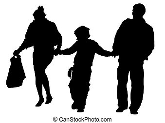 Families people on white