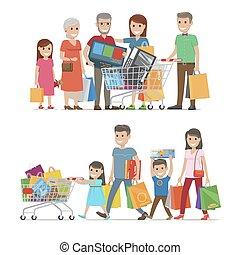 Families Shopping Concept Vector Illustration