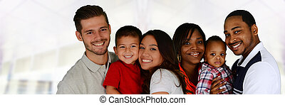 Families - Group of different families together of all races