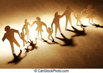Families holding hands on brown background