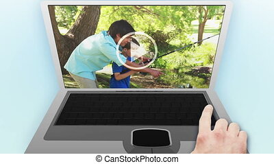 Families videos in a park - Animation of families videos in...