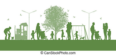 families with children in the city parc - illustration of a...