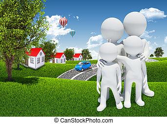 familj, 3, vit, folk