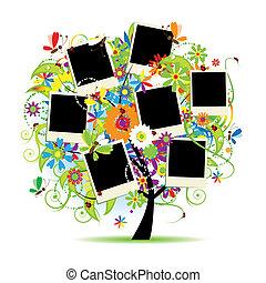 familj, album., photos., träd, blommig, inramar, din