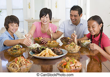 familj, avnjut, måltiden, tillsammans