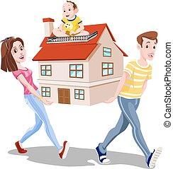 familj, bärande, a, hus, illustration