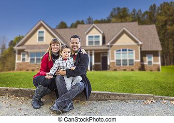 familj, blandad, deras, lopp, färsk, främre del, hem