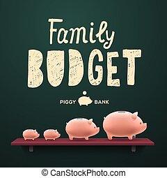 familj, budget., nasse, money-boxes, på, den, hylla