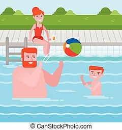 familj, caucasian, nöje, lycklig, ha, slå samman, simning