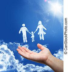 familj, drömma, -, hand, in, den, sky