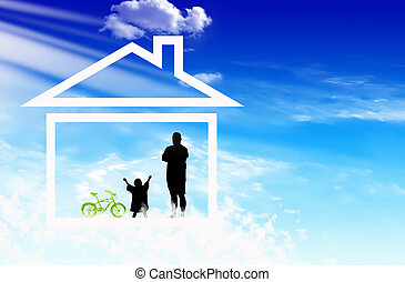 familj, drömmar, om, hus
