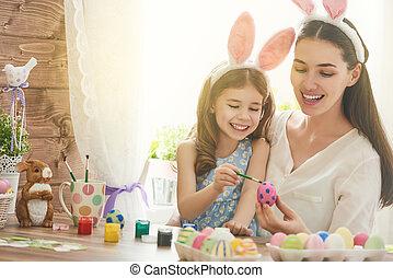 familj, förberedande, för, påsk