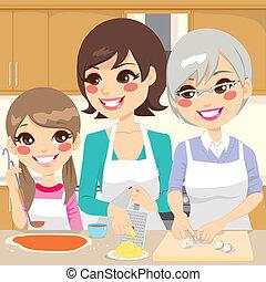 familj, förberedande, hemlagat, pizza