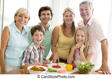 familj, förberedande, måltiden, tillsammans
