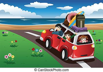 familj, gå, på, a, strand semester
