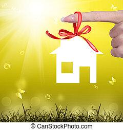 familj, gåva, lycka, färsk, Hem