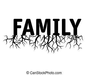 familj, grön, vektor, illustration