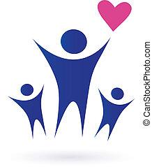 familj, hälsa, och, gemenskap, ikonen