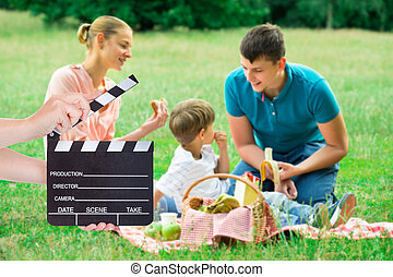 familj, havande picknick, i parken