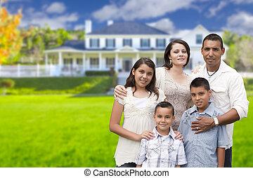 familj, hispanic, ung, deras, färsk, främre del, hem