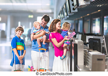familj, hos, den, flygplats