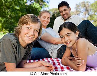 familj, i parken