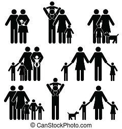 familj, ikon, sätta