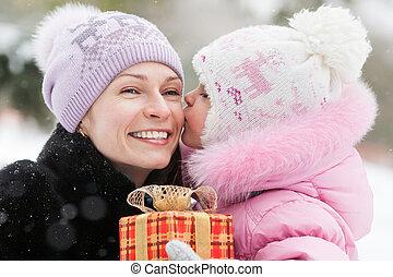 familj, jul, gåva, lycklig