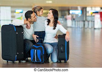 familj, krama, hos, flygplats