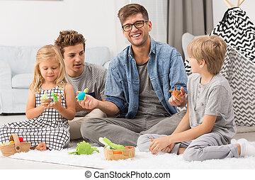 familj, leka, med, puppets