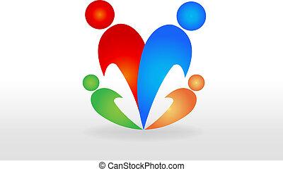 familj, logo, vektor