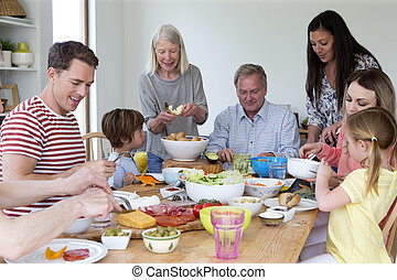 familj, lunch, tallrik