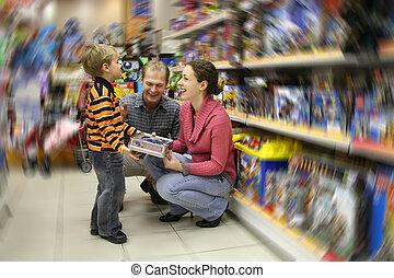 familj, med, färsk, leksak