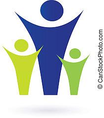 familj, och, gemenskap, pictogram