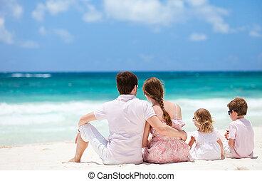 familj, på, caribbean vacation