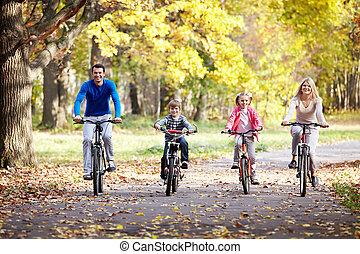 familj, på, cyklar