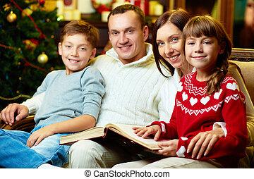 familj, på, jul