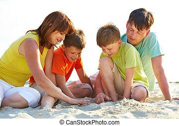 familj, på, sand