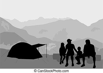 familj, på semester, -, camping.