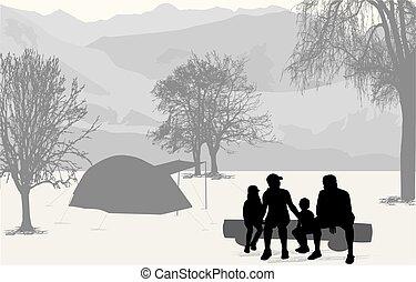 familj, på semester, -, camping, in, den, fjäll.