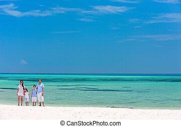 familj, på, sommar, strand semester