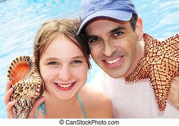 familj, på, tropical semester