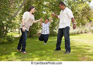 familj, parkera, ung, hispanic, nöje, ha