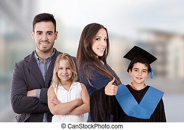 familj, pojke, likformig, gradindelning, lycklig